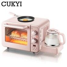 CUKYI многофункциональная 3 в 1 машина для завтрака 8л электрическая мини-печь Кофеварка для яиц сковорода Бытовая хлебная печь для пиццы гриль