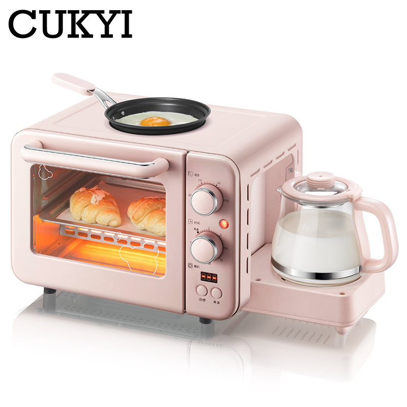CUKYI Multifunction 3 In 1 Breakfast Machine 8L Electric Mini Oven Coffee Maker Eggs Frying Pan Household Bread Pizza Oven Grill