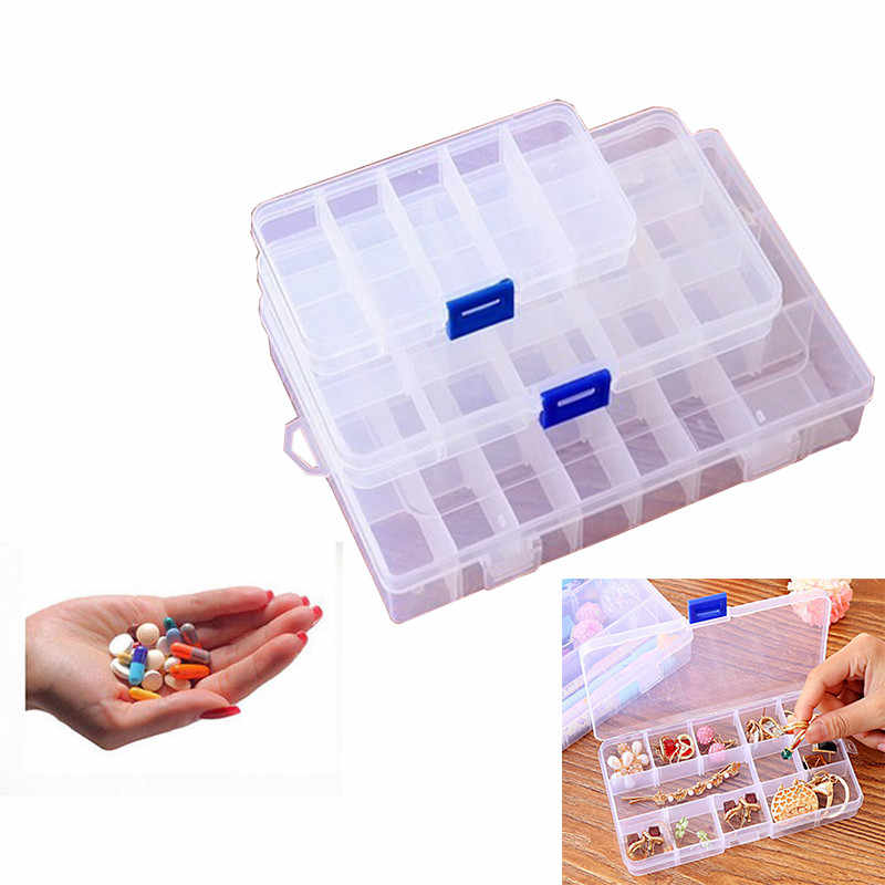 Clear Storage Box Transparent Plastic Box Hard Plastic Weekly Pill Medicine Box Holder Storage Organizer Container Case Portable