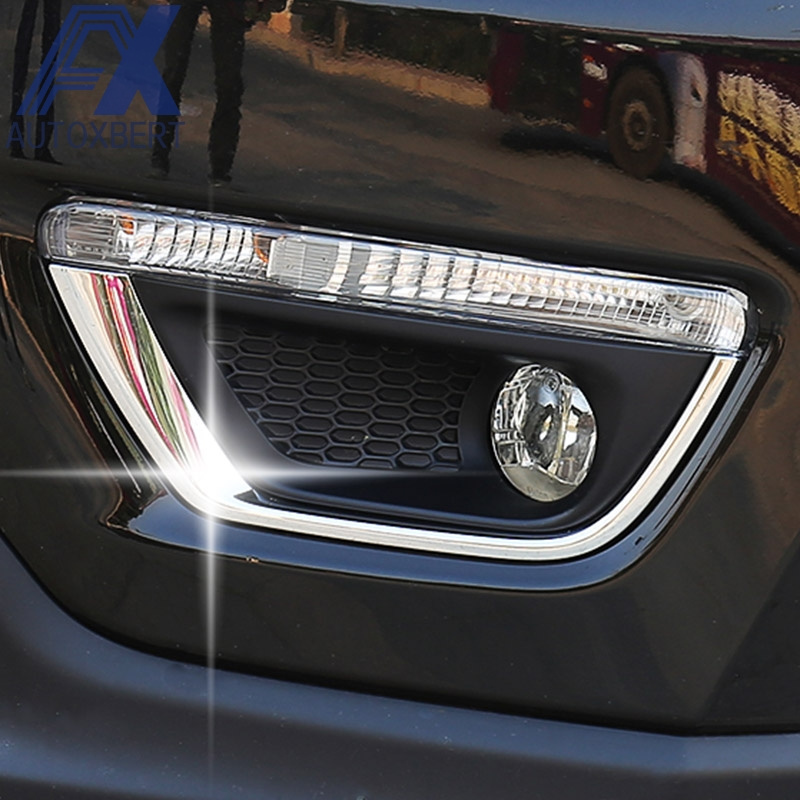Front Fog Light Lamp Bumper Chrome Cover Trim For Jeep Compass 2017 2018 Molding