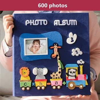 6 inch photo album 700 photos page type children family album creative felt paste cartoon cover baby grow album