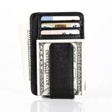 CUIKCA Fashion Women Men Wallet Magnet Clip Money Clip Ultrathin Slim Leather Wallet Purse Carteira Credit ID Card Case