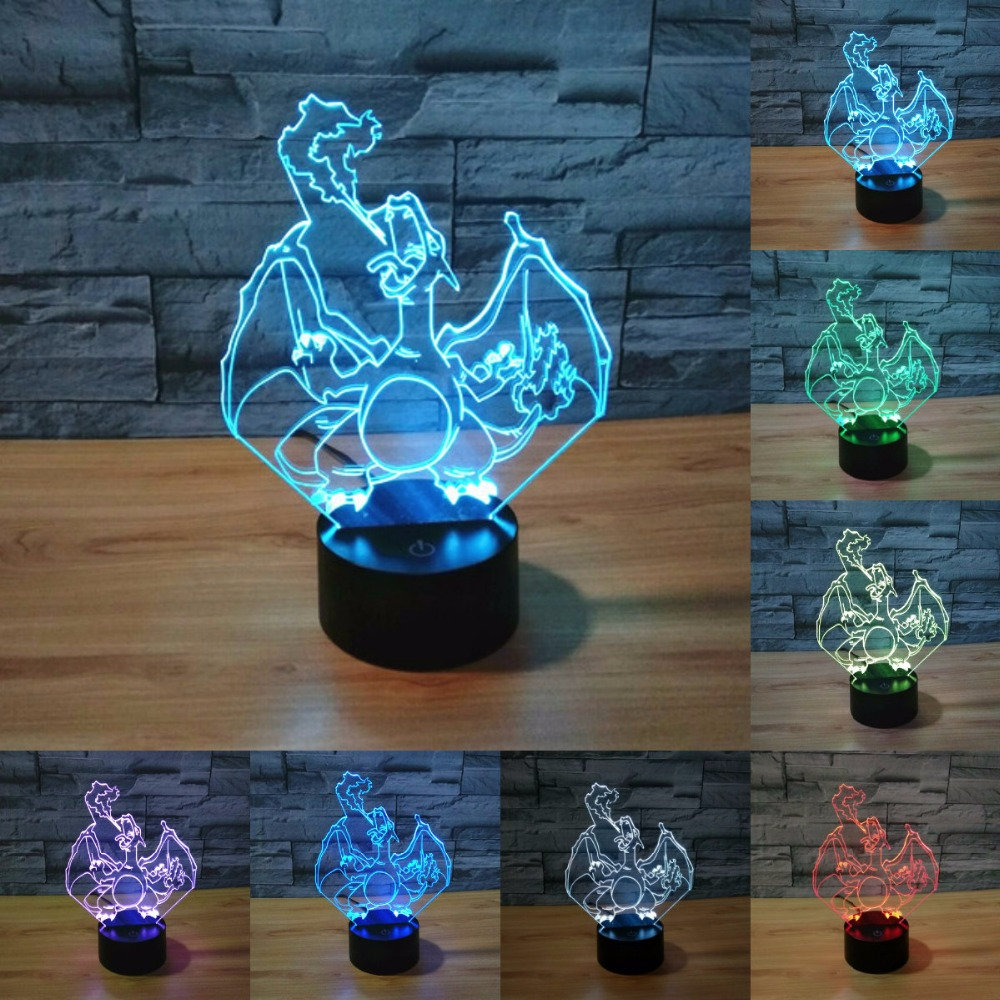 ᗔ7 Couleur Changement Pokemon 3d Led Nuit Lumiere Pokemon Aller