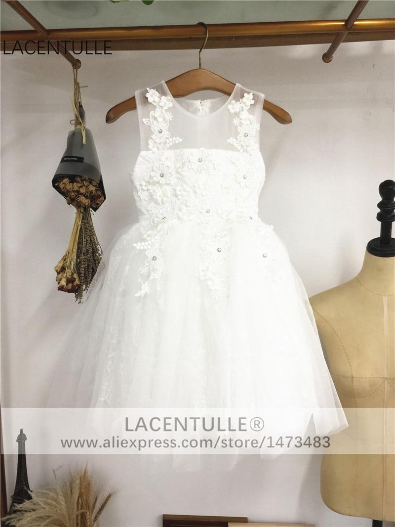 Sleeveless Sheer Neck Tank   Flower     Girl     Dress   with Petals Lace First Communion   Dress