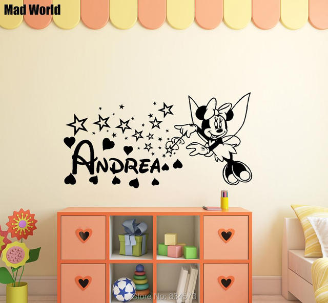 mad world personalised mouse girl name magic wall art stickers wall