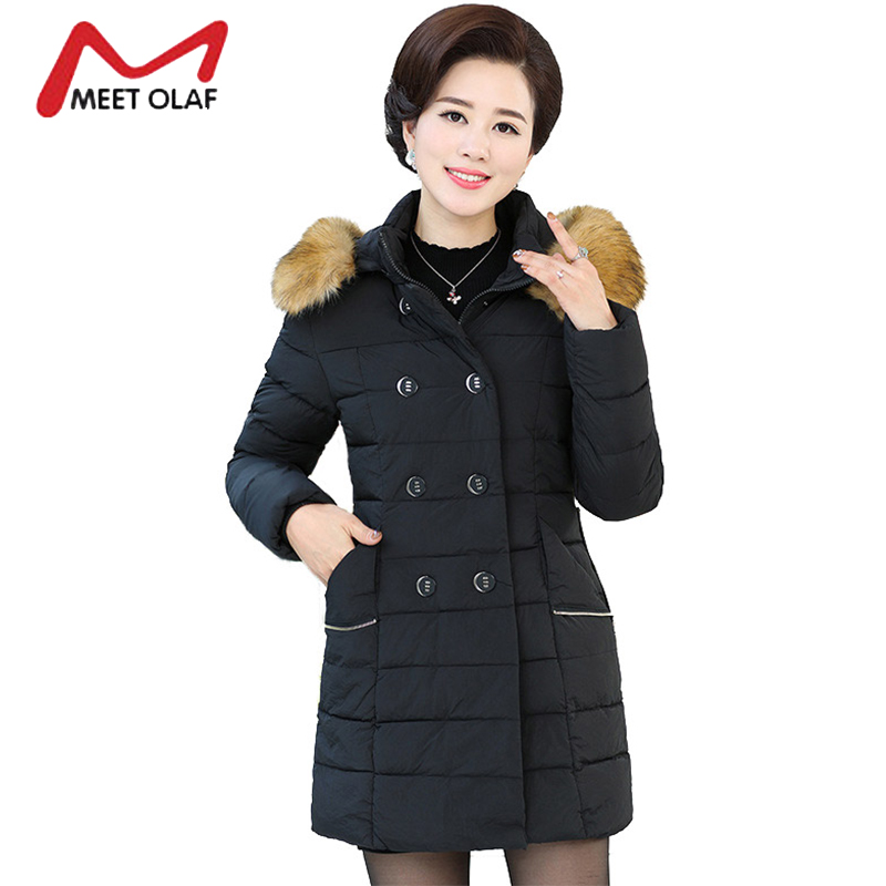 2017 Winter Coat Women Winter Jackets Middle Aged Female Fur Hood Cotton Parka Mother's Gift Plus Size 5XL Casacos Inverno Y1562 women winter xl long parka femme parka women s winter thicken coat casacos women s park cotton jackets wc91192