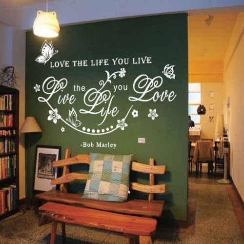 สีขาว BOB Marley Quote รักชีวิตคุณ Live VINE Butterfly Art สติ๊กเกอร์ติดผนัง Decal Decor ตกแต่ง
