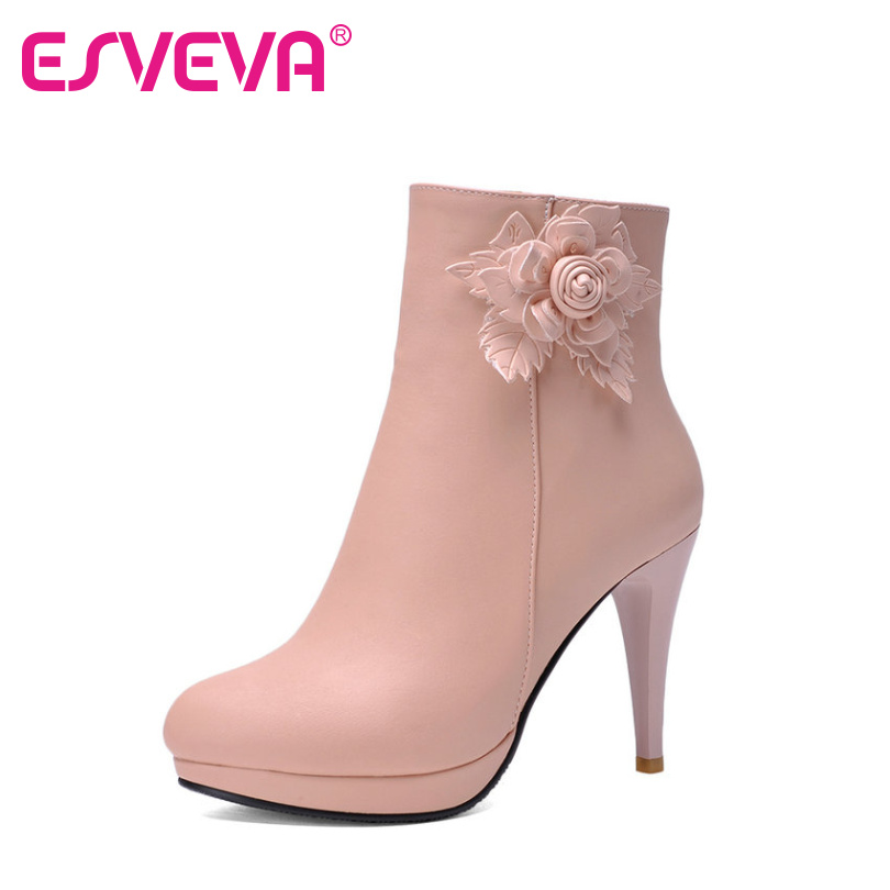ESVEVA Elegant Ladies Pink Fashion Boots Flower Shoes Women Thin High Heel Ankle Boots Round Toe Platform Shoes Big Size 34-43 esveva 2017 women fashion boots pu punk shoes square high heel ankle boots round toe women platform motorcycle boots size 34 42