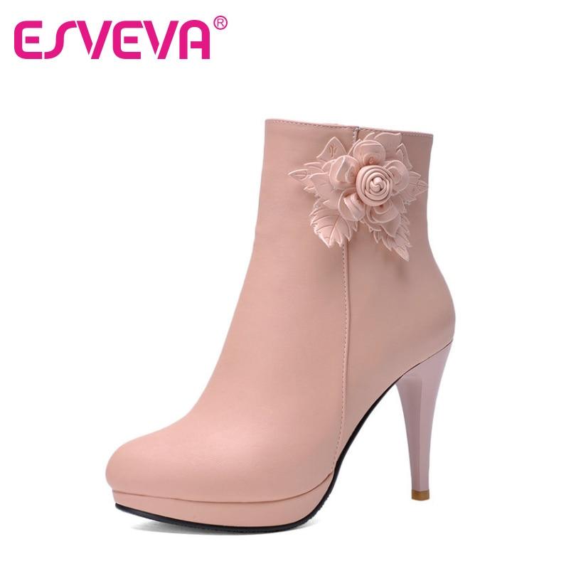 ESVEVA Elegant Ladies Pink Fashion Boots Flower Shoes Women Thin High Heel Ankle Boots Round Toe Platform Shoes Big Size 34-43 esveva elegant tassel fashion boots autumn shoes women thick high heel ankle boots pointed toe lace up women shoes size 34 40