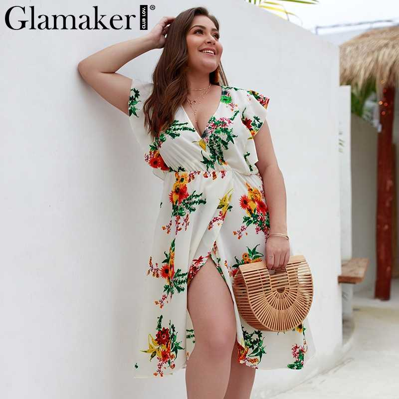 a18e2d79074 Glamaker Sexy v neck ruffle floral print boho dress Women summer split  vintage beach dress Female