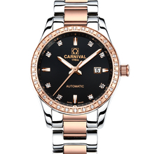 Carnival Watch Women Automatic Mechanical Luminous Rose Gold Stainless Steel Waterproof Girls Black Dial Watches