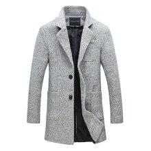 2016 neue Langen Graben Männer Winter Qualität 40% Wolle Windschutz solide Grau Mode-stil Dicken Warmen Mantel M-5XL Langen Graben männlich