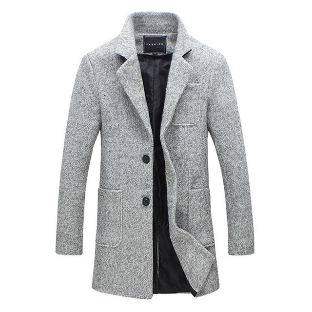 2019 New Long Trench Men Winter Quality 40% Wool Windbreak Solid Grey Fashion Style Thick Warm Overcoat M-5XL Parka Men