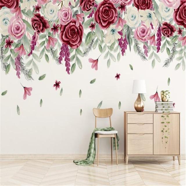 Nach 3D Tapete Europa Moderne Luxus Wandbild für wohnzimmer Schlafzimmer  Hintergrund Romantische Rote Eleganz Rose