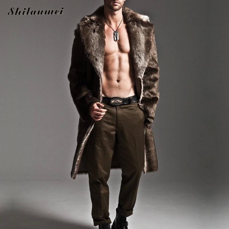 Winter Men Long Down Coat Jacket Slim Overcoat Men Faux Fox Fur Coats Outerwear chaquetas hombre brand clothing plus size S-4XL