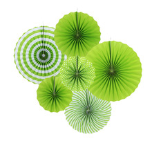6pcs/set Fresh Color Grass Green Pleated Paper Fans Set Polka Dots for Birthday Baby Shower Festival Wedding Hanging Daily Decor