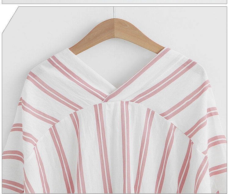 502018 Europe and the United States in summer new vertical stripe front and rear double V collar cotton and linen shirts bat sle