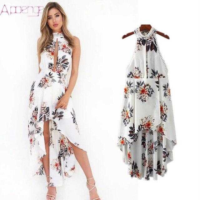 APOENGE summer beach white dress halter print floral boho dresses for women  SEXY backless long maxi 57d02790149b