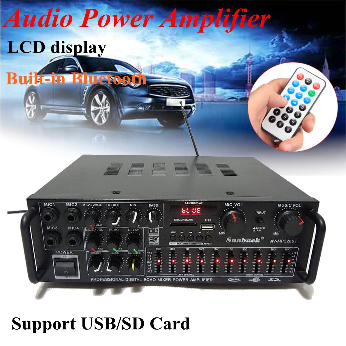 2000W Bluetooth 2.0 Channel Audio Power HiFi Amplifier Stereo 326BT 12V/220V AV Amp Speaker Support 4 Microphone with Remote eu us 1 in 4 audio signal switcher amplifier preamp hifi for headset speaker compact preamp 4 channel stereo microphone