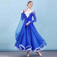 2019 New Standard Female Ballroom Dancing Dresses 6 Colors Competition Big Swing Dress For Women Waltz Tango Dancewear DWY1384