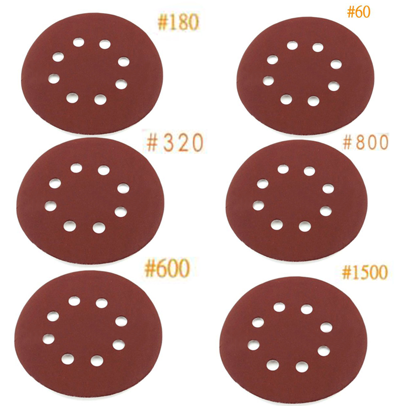 Mayitr 30 pièces/lot 5 pouces disque de ponçage 8 trous papier de verre outils de polissage mélangés 60/180/320/600 outils électriques à grain