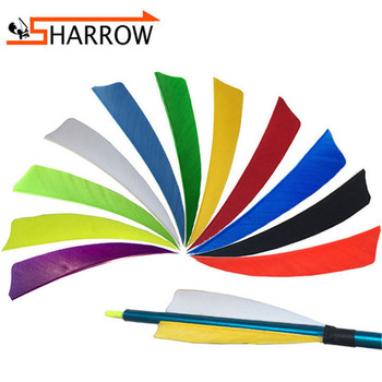 50pcs 4 Turkey Feather Shield-shape Arrow Feathers Natural Fletching Right Wing Vanes For Hunting Shooting Archery Accessories