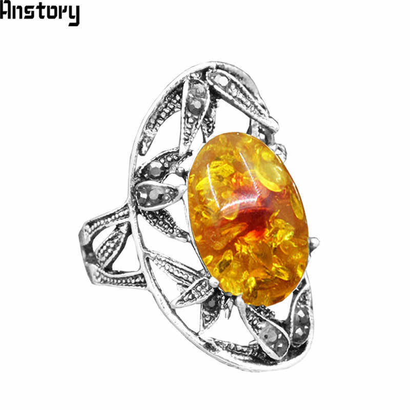 Oval Flower Resin Rings Hollow Leaf Rhinestone Rings For Women Antique Silver Plated Fashion Jewelry