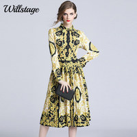 Willstage Floral Printed Dresses Women Yellow Pattern pleated Mid dress Long Sleeve Elegant Party Vestidos 2019 Spring Autumn