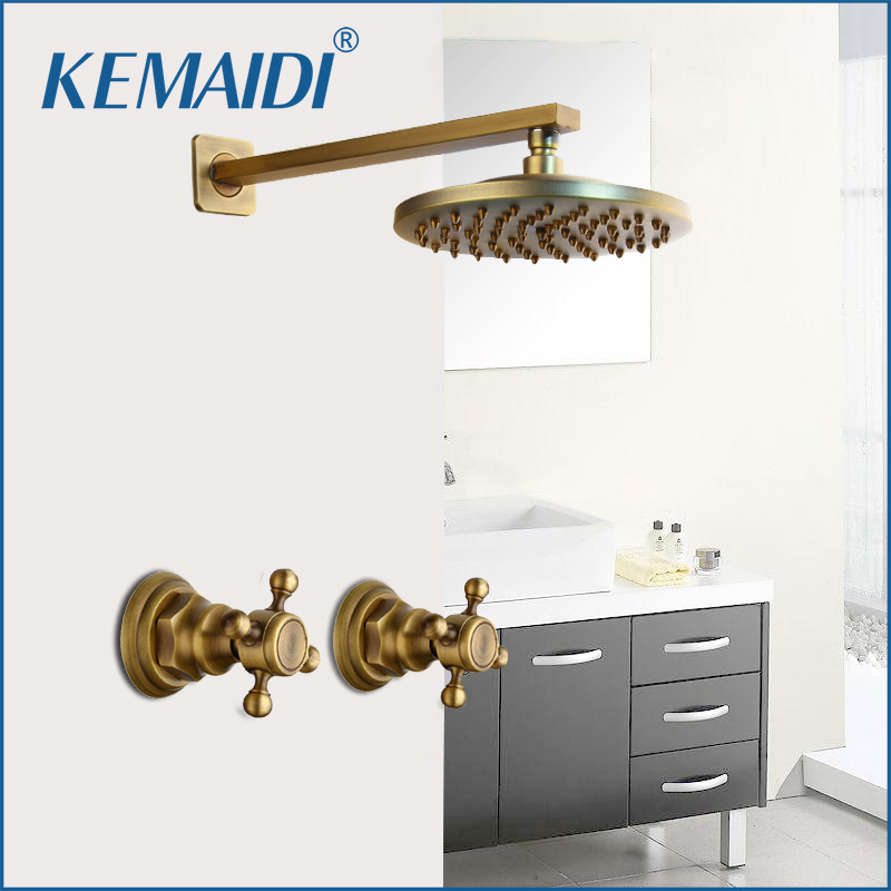 KEMAIDI Shower Faucet Sets 8 inch Antique Brass Round Wall Mounted Bathroom Rainfall Head 2 Handles Shower Shower SetsKEMAIDI Shower Faucet Sets 8 inch Antique Brass Round Wall Mounted Bathroom Rainfall Head 2 Handles Shower Shower Sets