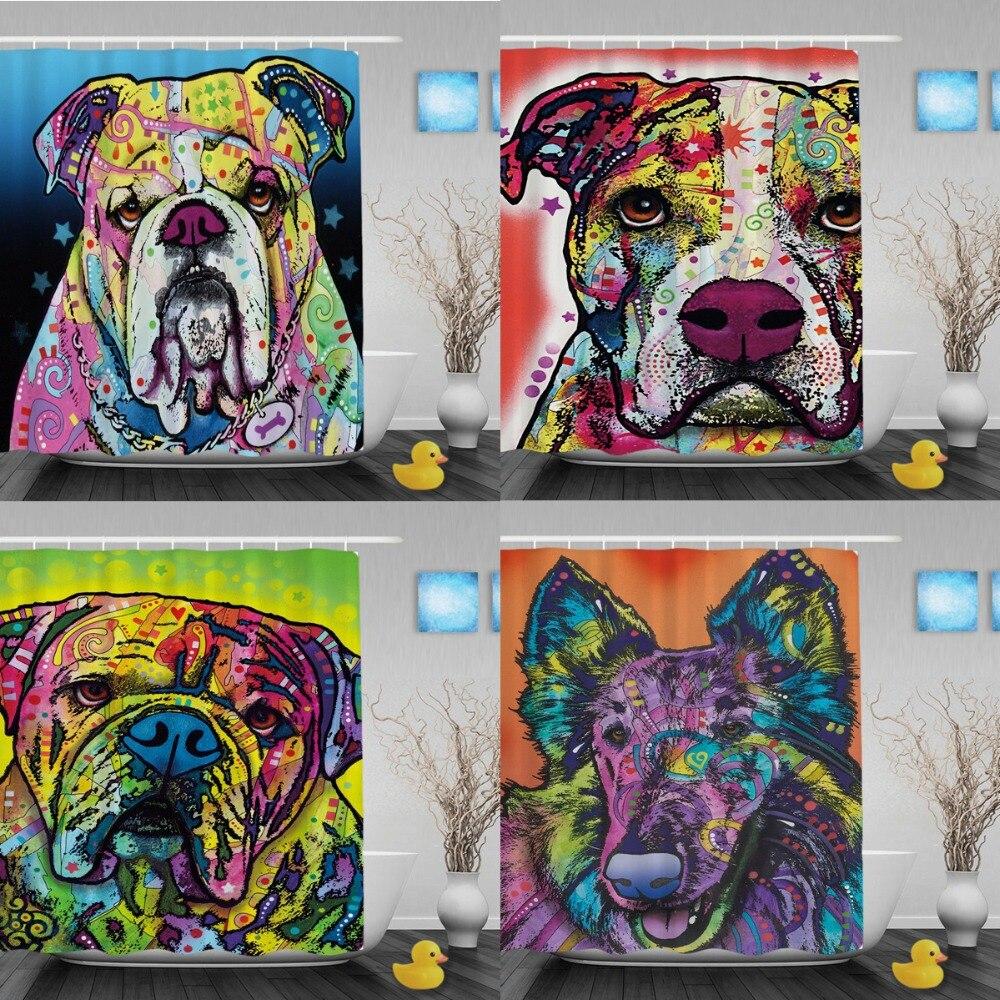 Cortinas de baño Bulldog encantadoras Cortinas de baño de baño de - Bienes para el hogar