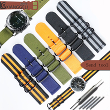 Watch accessories for NATO thick nylon sports watch strap with 18mm20mm22mm24mm latest men's and women multi-color canvas strap canvas strap watch with flower face