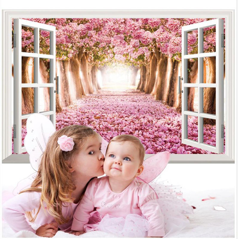 Fake Window Vinyl 3D DIY Flowers Wall Sticker For Kids Room Poster Home Decoration Mural Sitting Room Bedroom Wall Art Decals