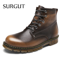 SURGUT Brand Men Boots Autumn Winter Warm Fur High Quality Split Leather Waterproof Footwear Fashion Comfortable