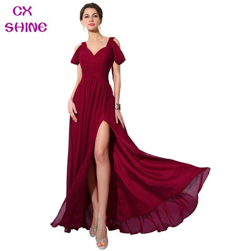 CX SHINE couleur personnalisée et taille mousseline de soie longues robes de soirée divisées vin rouge bleu mariage robe de mariée robe Plus la taille robes
