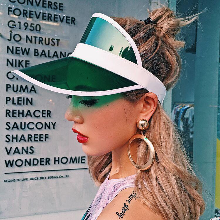White Fresh Colour Plastic Sun visor Hat caps rave festival fancy dress  poker headband 471aa766552