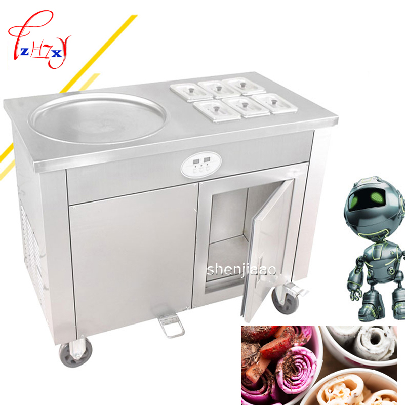 CBJY-1D6A un seul pot avec entreposage frigorifique armoire commerciale de crème glacée frite frite machine à yogourt au lait frit machine à rouler