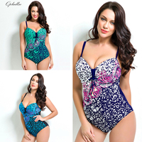 Qpladlse Flower Printing Swimwear Women Swimsuit One Piece Plus Size Swimsuit Women Monokini Large Size Baywatch
