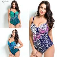 Qpladlse Flower Printing Swimwear Women Swimsuit One Piece Plus Size Swimsuit Women Monokini Large Size Baywatch