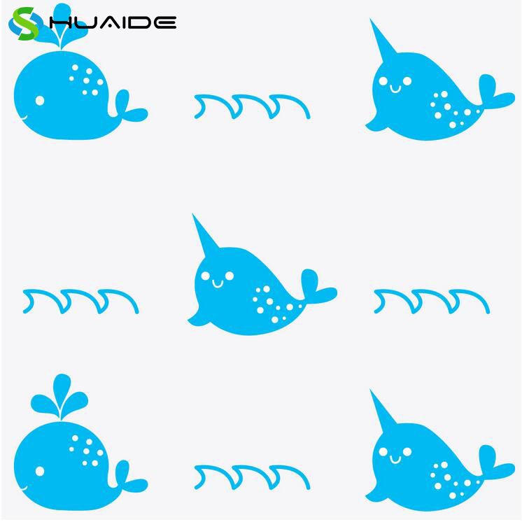 Baby Whales & Narwhals Wall Stickers DIY Vinyl Baby Wall Art Decals Girls Boys Bedroom Home Decor Nursery Animals Stickers A310