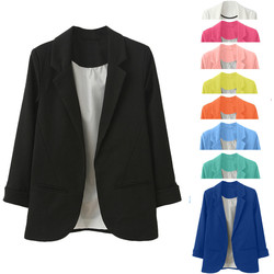Модные тонкие блейзеры для женщин, осенний костюм, куртка, Женский офисный костюм с карманами, деловой Блейзер, пальто, 7 цветов