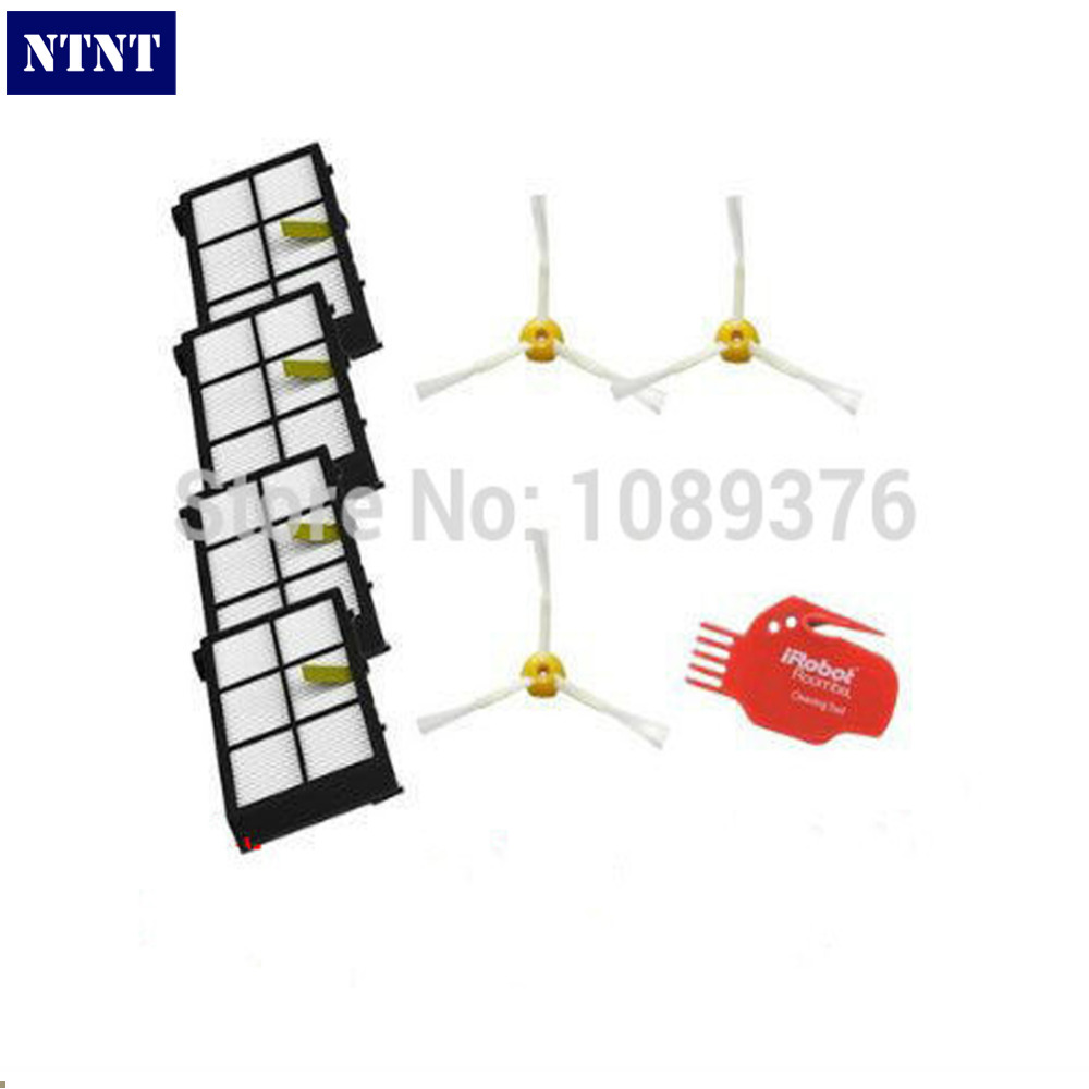 NTNT Free Post New 4 Hepa filters & 3 side brush Tool kit For iRobot Roomba 800 series 880 870 ntnt free post new filters