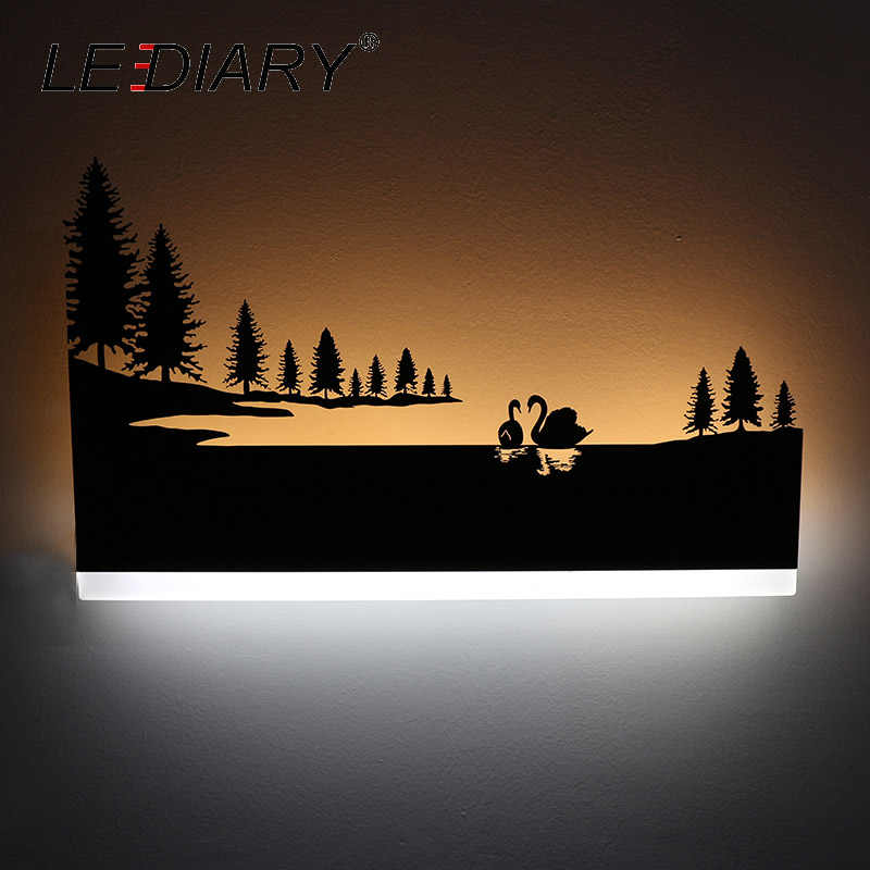 Светодиодный Светодиодный настенный светильник в стиле ретро, креативная живопись, 110-240 В, современное черное бра, украшение для ванной комнаты, гостиной, комнаты с животными