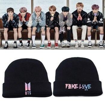 SGDOLL 2018 Winter Kores Kpop BTS Bangtan Boys FAKE LOVE Cap Beanie Hat  Knit Black Warm New Fashion Action Toy Figures Hobbies jung kook bts persona