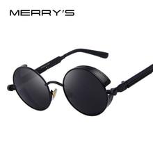 merry's vintage women steampunk sunglasses  design round sunglasses oculos de sol uv400
