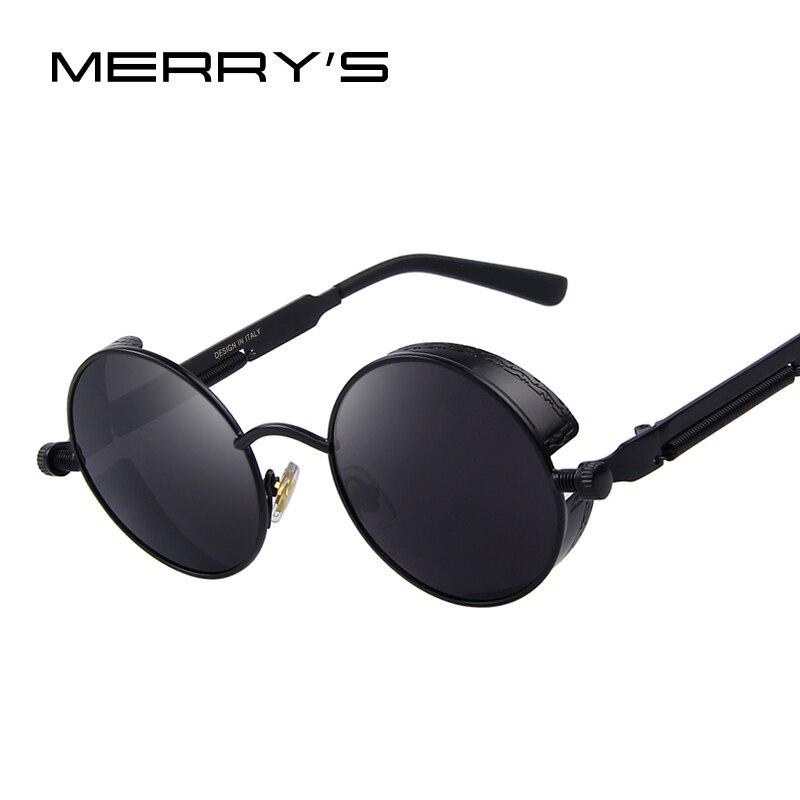 MERRY'S Donne Dell'annata Steampunk Occhiali Da Sole Brand Design Occhiali Da Sole Rotondi Oculos de sol UV400