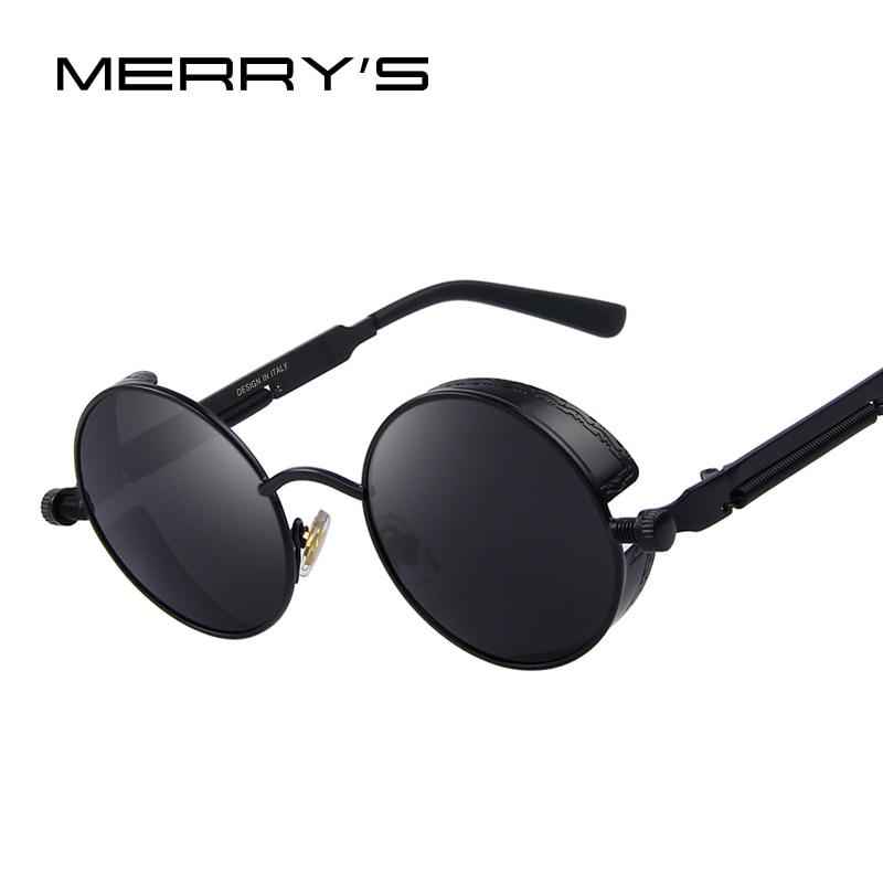 MERRY'S Vintage Femmes Steampunk Lunettes De Soleil Brand Design lunettes de Soleil Rondes Oculos de sol UV400