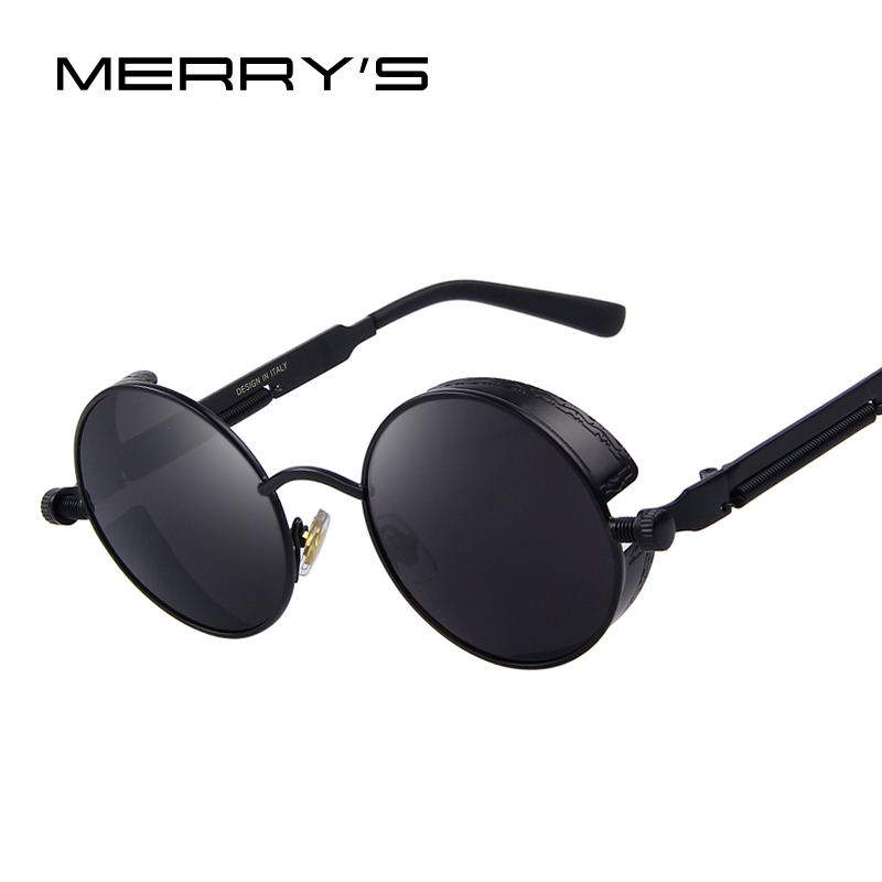 MERRY'S Vintage Women Steampunk Sunglasses Brand Design Round Sunglasses Oculos de sol UV400 vintage steampunk sunglasses round designer steam punk metal oculos de sol women coating sunglasses men retro circle sun glasses