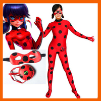 LADY BUG COSTUMES KIDS GIRLS CHILDREN SPANDEX MIRACULOUS LADYBUG CAT NOIR ADULT ROMPER HALLOWEEN FANCY DRESS