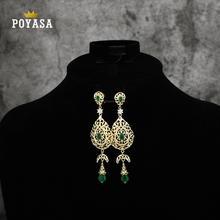 Marokkaanse Caftan bruiloft gouden oorbel rode en groene steen mode sieraden koperen hoge kwaliteit oorbel