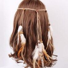 Handmade Indian Bohemian gypsy wind feather headband hair band headwear